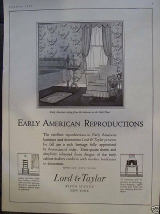 1924 Lord & Taylor Early American Furniture Advertisement