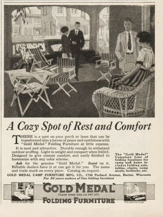 1922 Gold Medal Camp Furniture Manufacturing Co Racine Wi Folding Chair Cot Ad