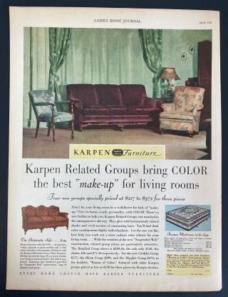 Vintage 1931 Karpen Furniture Parlor Couch Chairs Art Decor Print Ad 1930