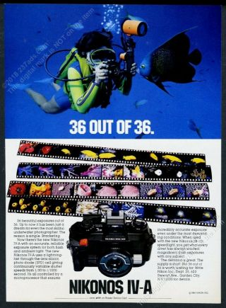 1982 Nikonos Iv - A Diving Diver Camera Photo Nikon Vintage Print Ad