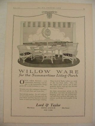 1917 Willow Ware Willow Furniture Lord & Taylor Print Ad