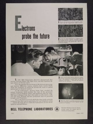 1952 Bell Telephone Labs Scientist Electron Camera Photo Vintage Print Ad
