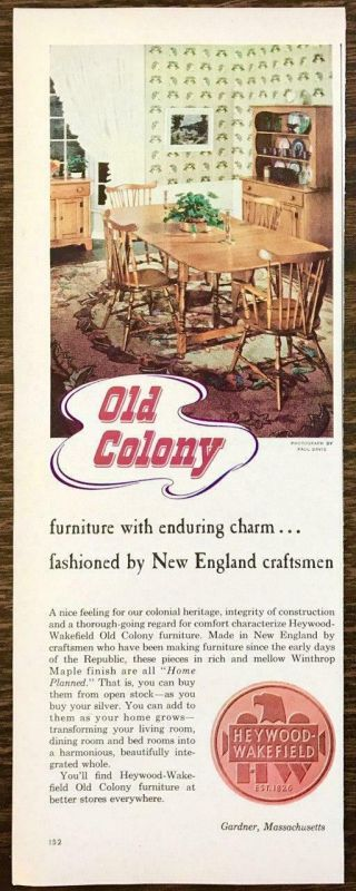 1948 Heywood Wakefield Furniture Gardner Ma Print Ad Old Colony Dining Set