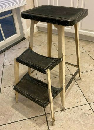 Vintage Mid Century Powell Steel Co.  Step Stool With Flip Down Steps Stool