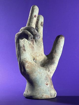 Very Rare - Large Detailed Ancient Roman Bronze Life Sized Hand Circa 200 - 400 Ad