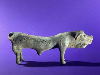 Ancient Roman Bronze Pig Bull With Writing Over Body - Ca 100 - 300ad - Very Rare