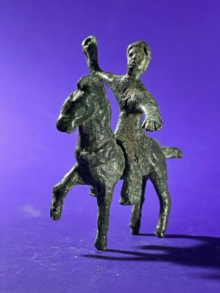 Circa 100 Bc - 100 Ad Ancient Celtic Bronze Horse And Rider Figurine