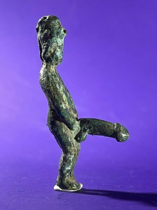 Rare Ancient Roman Bronze Period Statue With Erotic Phallus - Circa 200 - 400 Ad