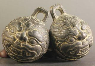 5 Pair Ancient China Bronze Bell Old Dragon Head Bronze Bells