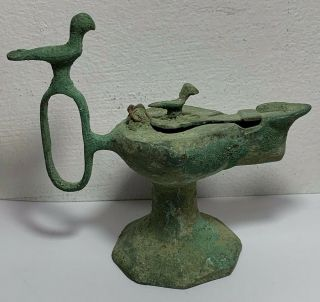 Scarce Ancient Roman Bronze Oil Lamp With Birds Circa 200 - 300ad 146mm