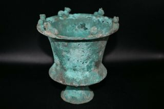 Museum Quality Ancient Roman Bronze Chalice Cup With 6 Lion Figurines On Edges