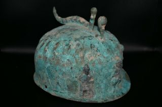 Authentic Ancient Early Bactrian Bronze Helmet With Multiple Figurines On Top