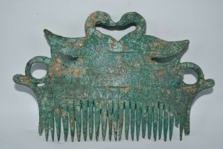 Authentic Ancient Near Eastern Sasanian Bronze Comb With 2 Goose Of Top