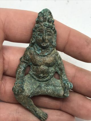 Scarce Ancient Gandhara Bronze Seated Buddha Figurine