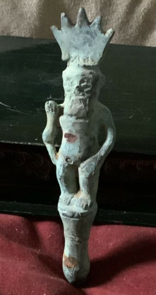 A Strange Possibly Ancient Bronze Figure Of A Quirky Male Figure Wearing Crown