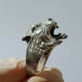 Ancient Roman Legionary Seal Ring Bronze Ring Decorated Tiger Design On Bezel