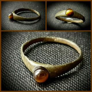 Ancient Bronze Roman Ring Set With Tigers Eye Gem Stone Bezel C.  A.  1st - 4th A.  D
