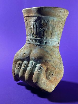Large Ancient Persian Bronze Rhyton Depicting Clenched Fist Circa 500 - 400 Bce