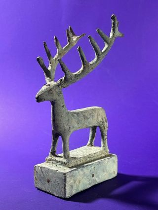 Ancient Luristan Bronze Stag With Large Intact Antlers On Platform Circa 1000bc