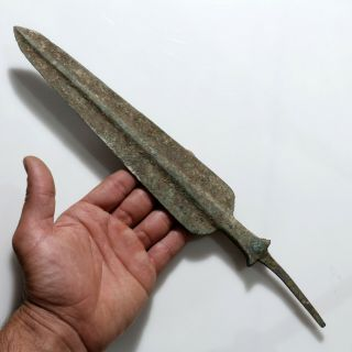 Huge - Ancient Luristan Bronze Age Spear Head Circa 2500 - 1500 Bc - 334mm