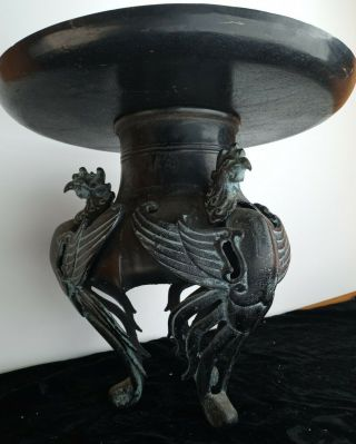 18c Ancient Antique Chinese Qine Dynasty Bronze Censer Incense Burner 3 Phoenix
