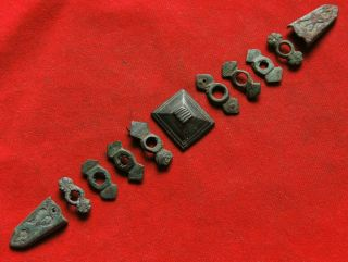 Ancient Bronze Parts From The Belt 13 - 15th Century