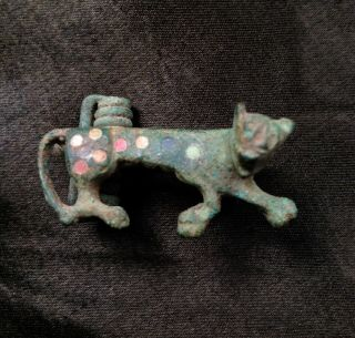 Ancient Roman Fibula Bronze Enamel Brooch Zoomorphic Leopard Big Cat 200 - 300 Ad