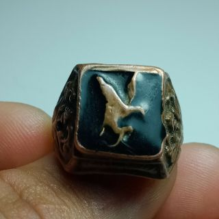 Extremely Ancient Roman Bronze Eagle Ring Legionary Ring Artifact Authentic
