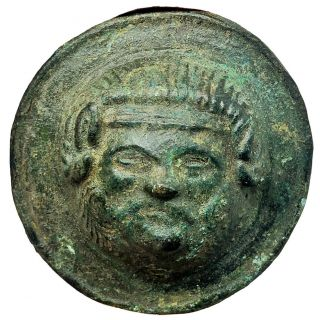 Ancient Or Medieval Anthropomorphic Bronze Artifact Jewelry Appliqué Old Button