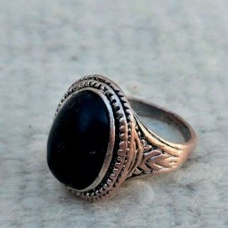 Rare Extremely Ancient Bronze Ring Viking Black Stone Artifact Bronze Authentic