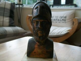 Bronze Bust Of Ancient Greek Soldier On Marble Plinth