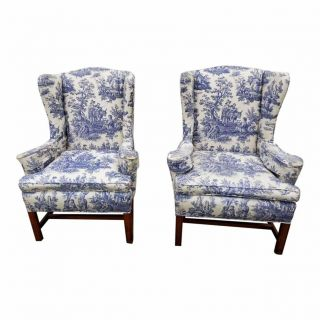 Vintage Blue And White Toile De Jouy Wingback Arm Chairs