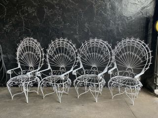 Vintage Set Of 4 Wrought Iron Metal Peacock Chairs