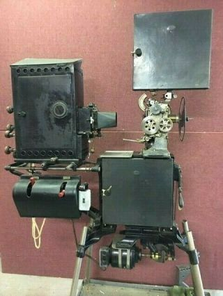 """35mm Powers 6b Cameragraph Vintage Silent Film Projector W/lamphouse & 29 """" Stand"""