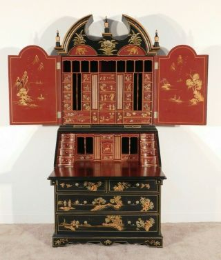 Vintage Chinese Chippendale Black & Red Lacquer Chinoiserie Secretary Bookcase
