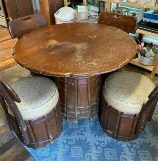 Vintage Rare Numbered & Signed Old Hickory Barrel Table W/4 Chairs,