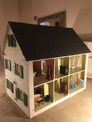 Doll House Vintage Handmade Solid Wood Double Sided W/ Vintage Furniture