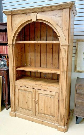 Vtg Old English Pine Open Bookcase Hutch Arched Top Entertainment Center Stereo