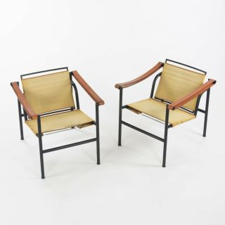 Vintage Pair Le Corbusier Cassina Lc1 Basculant Lounge Chairs Canvas Upholstery