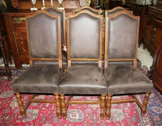 Set Of 6 French Antique Oak Louis Xiii Dining Room Chairs With Upholstery