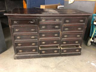 """Awesome Vintage 15 Drawer Apothecary Cabinet Pine W Brass Hardware 55/27/34.  5"""""""