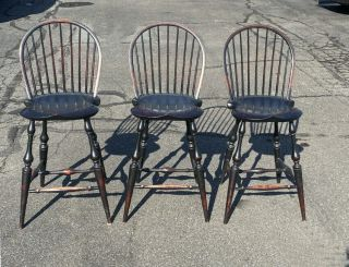 Vintage Set Of 3 Matching D.  R.  Dimes Country Windsor Island Bar Chairs In Black