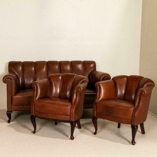 Vintage Leather Loveseat And Club Chairs,  Set Of 3