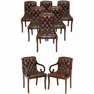 Sublime Set Of Eight Vintage Chesterfield Mahogany Brown Leather Dining Chairs 8