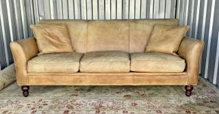 Awesome Vintage Distressed Ralph Lauren Leather Sofa - Great Look