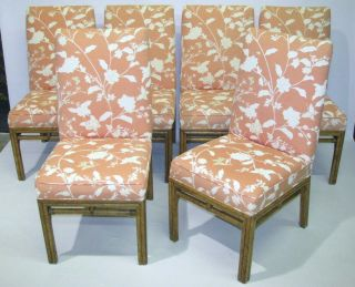 Set Of 6 Vintage Ficks Reed Bamboo Dining Chairs Wth Upholstered Seats & Backs