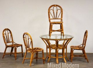 Vintage Bamboo Dining Room Table And Chairs