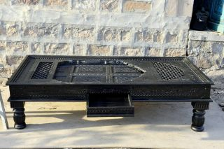 Black Chai Table Vintage Solid Wooden Rustic Coffee Table Hand Carved Jharokha