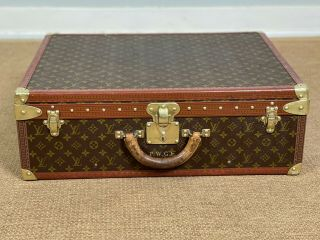 Louis Vuitton Alzer 65 Monogram Hard Sided Suitcase Vintage Trunk With Tray