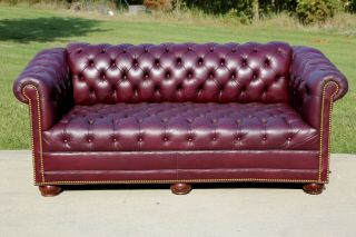 Leather Chesterfield Sofa Vintage Tufted Couch W Nailhead Trim Office Furniture
